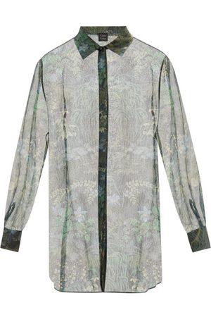 CARINE GILSON Floral-print Silk-chiffon Pyjama Shirt - Womens - Multi