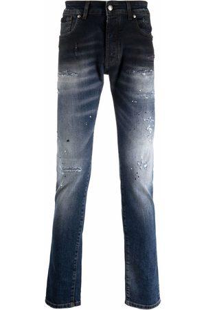 John Richmond Paint splatter-print slim-cut jeans