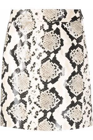 Alessandra Rich Women Mini Skirts - Snakeskin-effect leather mini skirt - Grey