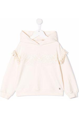 ERMANNO SCERVINO JUNIOR Fringe-detail pullover hoodie - Neutrals