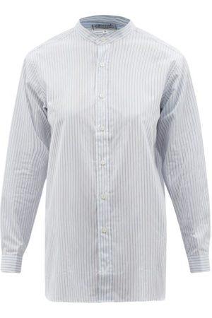 Charvet Women Pajamas - Striped Cotton-poplin Pyjama Shirt - Womens - Grey Stripe