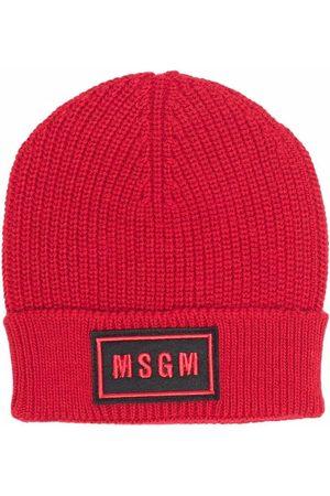 Msgm Ribbed-knit logo-patch hat