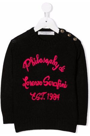 PHILOSOPHY DI LORENZO SERAFINI Girls Sweaters - Embroidered knit logo jumper