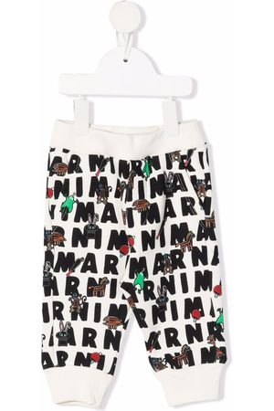Marni Sweatpants - Graphic logo-print track trousers - Neutrals