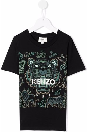Kenzo Boys Short Sleeve - Tiger-print short-sleeved T-shirt