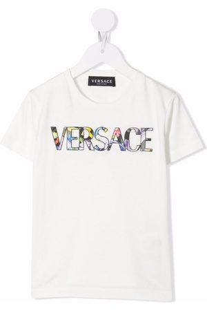 VERSACE Girls Short Sleeve - Logo-print short-sleeved T-shirt