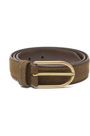 Anderson's Men Belts - Suede Belt - Mens - Khaki