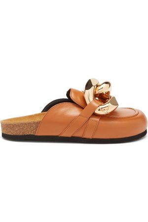 J.W.Anderson Women Mules - Chain-embellished Leather Mules - Womens - Tan