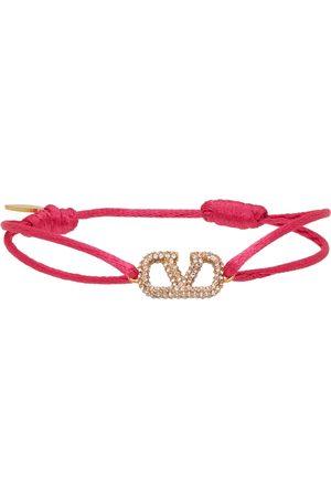 VALENTINO GARAVANI Women Bracelets - Pink Crystal VLogo Bracelet