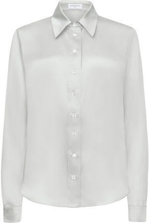 SERENA BUTE The New Serena Shirt - Ice Blue Silk