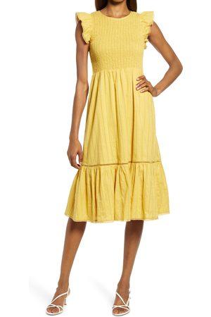 Lost + Wander Women's Blossom & Bloom Flounce Sleeve Cotton Dress