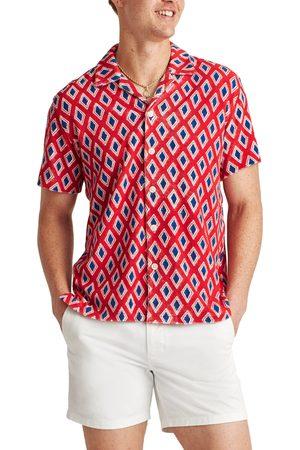 BONOBOS Men's Slim Fit Diamonds Short Sleeve Button-Up Camp Shirt