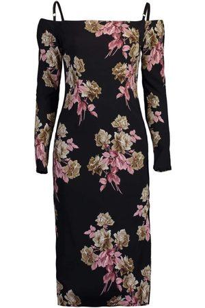 BLUMARINE Long Sleeve Off Shoulder Print Dress
