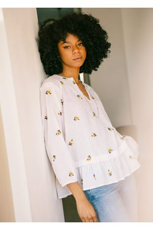 PYRUS Janis Embroidered Daisy Blouse - Salt