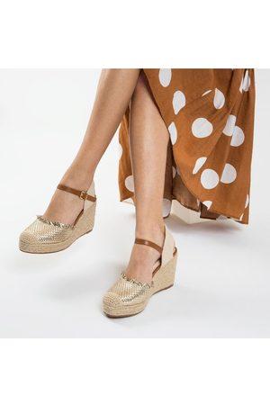 Odyl Vanessa Wu gold wedge sandals 36/ UK3