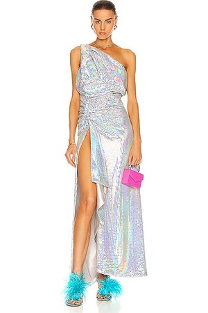The Attico Sleeveless Maxi Dress in Metallic Silver