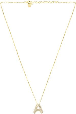 The M Jewelers Pave Bubble Letter Pendant Necklace in Metallic .