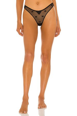 FLEUR DU MAL Bow Embroidery Thong in .