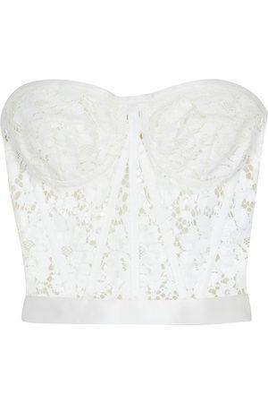 Dolce & Gabbana Women Strapless Tops - Strapless lace bustier top