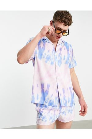 ASOS Coordinating relaxed revere tie dye shirt in lilac