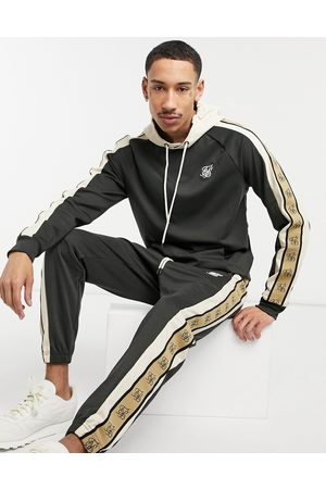 SikSilk Premium tape detail hoodie in and white