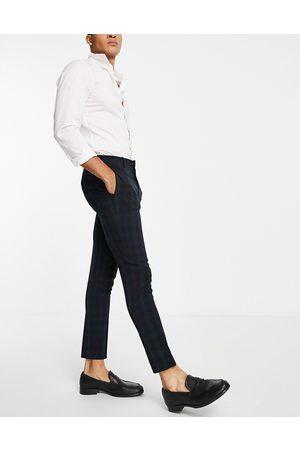 ASOS Super skinny suit pants in blackwatch plaid-Navy