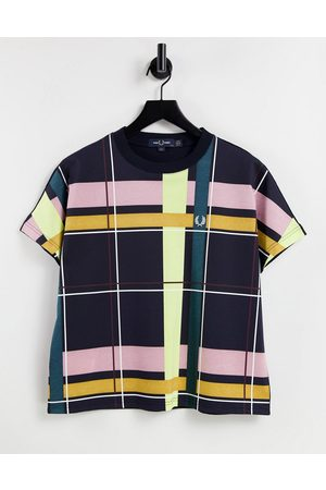 Fred Perry Women T-shirts - T-shirt with plaid print front in navy