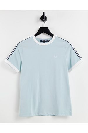 Fred Perry Branded taped short sleeve T-shirt in blue-Blues