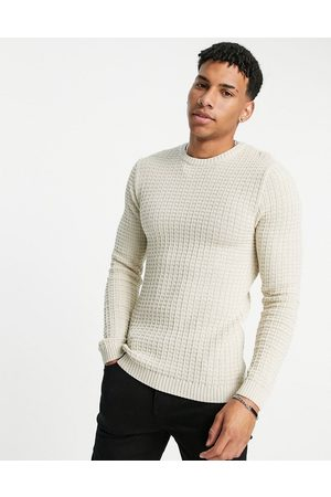 ASOS Muscle fit textured knit sweater in oatmeal-Neutral