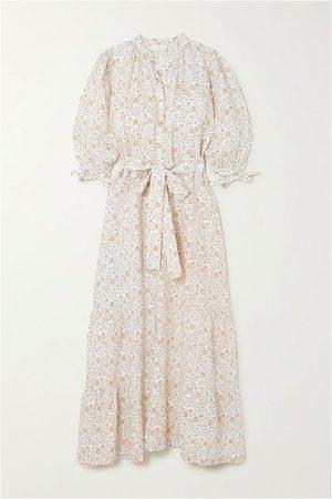 Hannah Artwear Camellia belted floral-print linen maxi dress