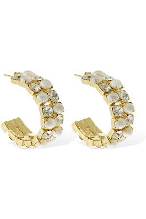 ROSANTICA Women Earrings - Polka & Faux Pearl Hoop Earrings