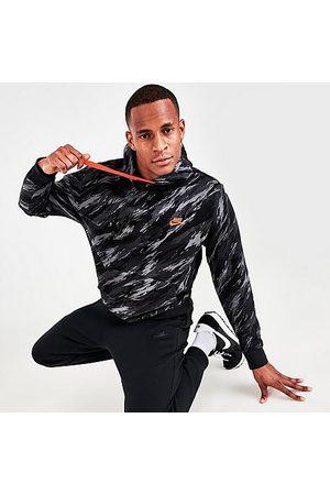 Nike Men Hoodies - Men's Sportswear Club Fleece Pullover Hoodie in Camo/Grey/ Size X-Small Cotton/Polyester/Fleece