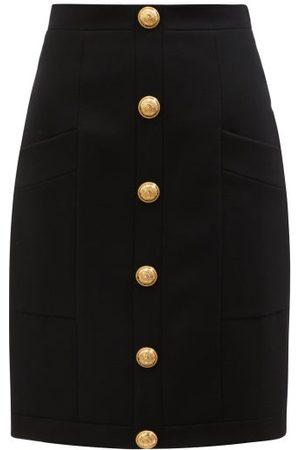 Balmain Women Midi Skirts - High-rise Buttoned Wool Skirt - Womens