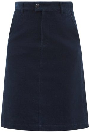 A.P.C. Women Pencil Skirts - Carry High-rise Cotton-corduroy Pencil Skirt - Womens - Navy
