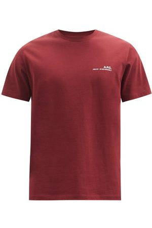 A.P.C. Item Logo-print Jersey T-shirt - Mens - Burgundy