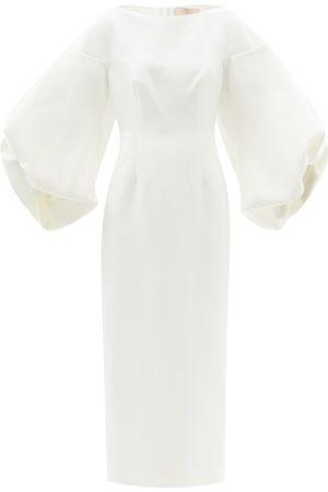 Roksanda Garance Balloon-sleeve Crepe Dress - Womens - Ivory