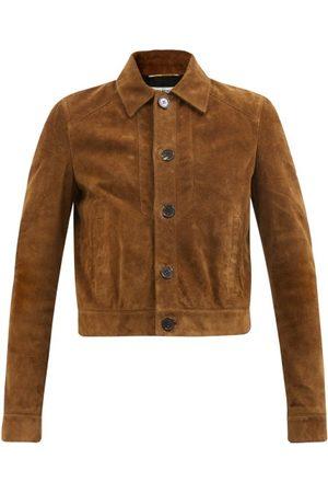 Saint Laurent Women Leather Jackets - Suede Jacket - Womens - Camel