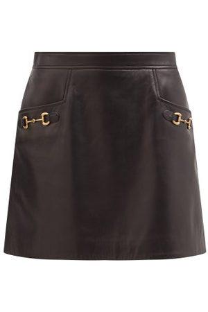 Gucci Women Mini Skirts - Horsebit High-rise Leather Mini Skirt - Womens