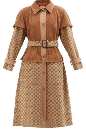 Gucci Women Trench Coats - Belted Corduroy And Gg-jacquard Canvas Trench Coat - Womens