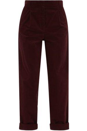 A.P.C. Louise High-rise Corduroy Wide-leg Trousers - Womens - Burgundy