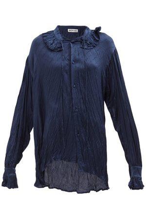Balenciaga Asymmetric Logo-jacquard Silk-satin Blouse - Womens