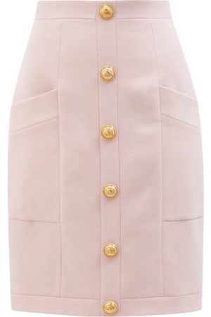 Balmain High-rise Buttoned Wool Skirt - Womens
