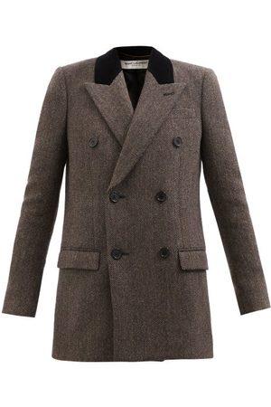Saint Laurent Double-breasted Herringbone-wool Jacket - Womens - Navy