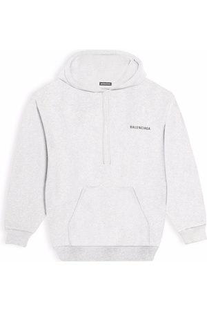 Balenciaga Men Hoodies - Logo-print hoodie - Grey
