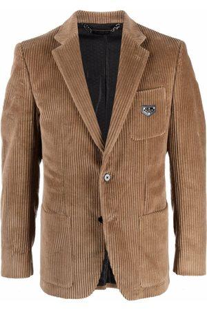 Philipp Plein Men Blazers - Single-breasted corduroy blazer - Neutrals