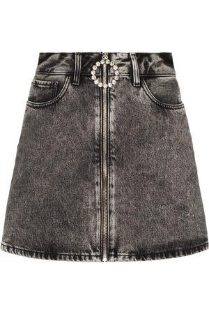 Alessandra Rich Crystal-embellished denim mini skirt - Grey