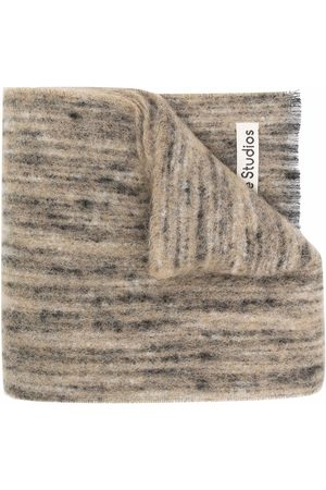 Acne Studios Scarves - Logo patch knitted scarf - Neutrals