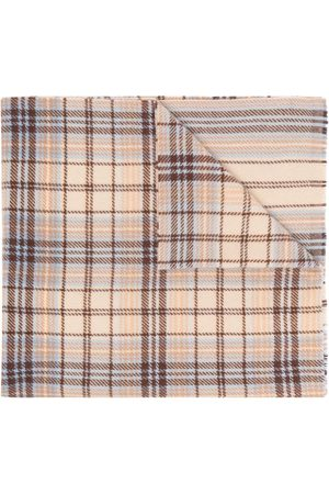 Acne Studios Scarves - Tartan logo scarf - Neutrals