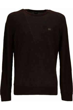 HUGO BOSS Men Sweatshirts - Logo-patch cotton-blend sweater