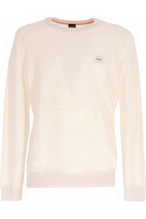 HUGO BOSS Men Sweatshirts - Logo-patch cotton-blend sweater - Neutrals